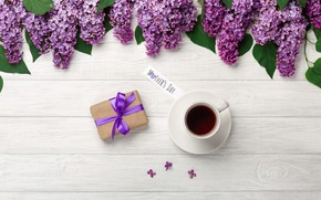 Picture flowers, holiday, gift, coffee, lilac