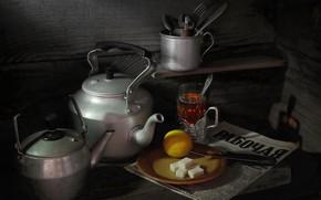 Picture lemon, kettle, newspaper, still life, Tea, refined sugar, photographer Sergey Pounder
