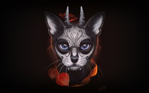 Wallpaper Minimalism, Cat, Eyes, Death, Art, Art, Cat, Santa Muerte, Into The Bear, by Into The ...