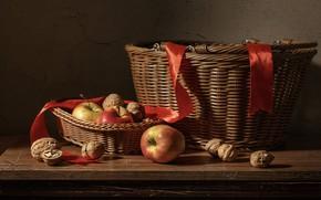 Picture the dark background, apples, tape, still life, basket, items, braid, walnuts