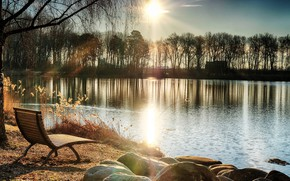 Picture the sun, trees, bench, river, spring