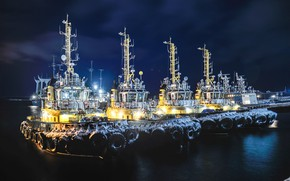 Picture winter, night, pier, port, Russia, tugs, The Barents sea