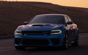 Picture sunset, lights, the evening, Dodge, front view, Charger, Hellcat, SRT, Widebody, 2019, Daytona 50th Anniversary