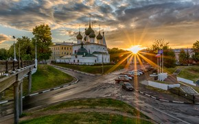 Picture the sun, rays, bridge, the city, road, morning, temple, Yaroslavl