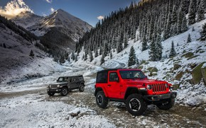 Wallpaper snow, mountains, red, 2018, Jeep, dark gray, Wrangler Rubicon, Wrangler Sahara