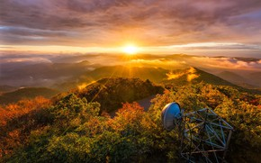 Picture autumn, forest, the sun, light, trees, mountains, hills, foliage, antenna