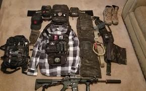 Picture gun, pistol, weapon, cap, cosplay, sofa, rifle, knife, Ghost Recon, boots, uniform, carpet, seifuku, handgun, …