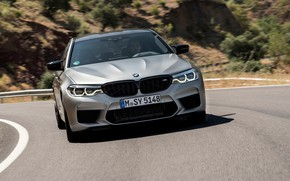 Picture grey, BMW, sedan, 4x4, 2018, four-door, M5, V8, F90, M5 Competition, on a mountain road