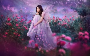 Picture girl, nature, butterfly