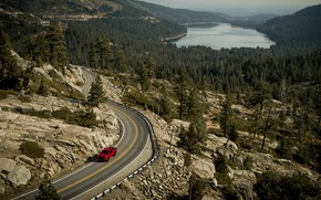 Picture forest, mountains, car, pond, GMC SIERRA Elevation