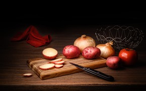 Picture bow, knife, still life, potatoes, cutting Board