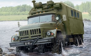 Picture USSR, terrain, ZIL-131, crank, Russian truck, command post vehicle