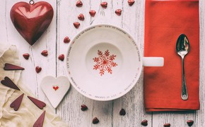 Picture heart, spoon, Cup, snowflake, napkin