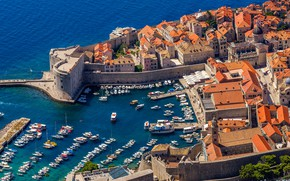 Picture sea, the sun, trees, home, yachts, boats, roof, Bay, the view from the top, Croatia, …
