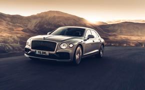 Picture sunset, speed, Bentley, Flying Spur, 2020, Blackline