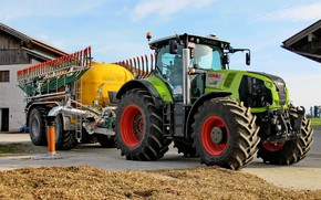 Picture the sky, work, tractor, cabin, wheel, tank, Claas, download, agricultural machinery, silage, Claas Axion 830, …