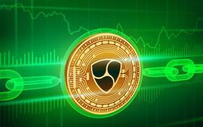 Picture green, logo, chain, fon, coin, blockchain, xem, not, nem