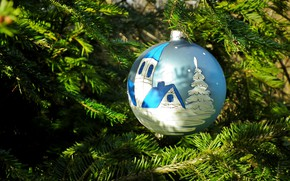 Picture winter, light, branches, holiday, blue, figure, ball, Christmas, Church, New year, house, tree, needles, Christmas …