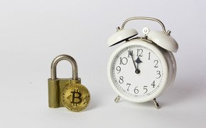 Picture background, castle, watch, alarm clock, coin, Bitcoin, bitcoin