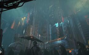 Picture city, dark, fantasy, rain, umbrella, science fiction, people, sci-fi, artist, artwork, building, fantasy art, futuristic …