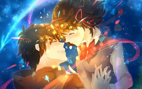 Picture girl, romance, anime, art, comet, guy, two, bow, Kimi no VA On, Your name