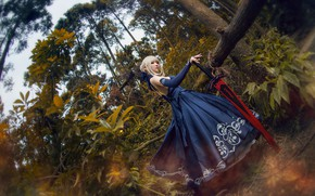 Picture forest, look, leaves, girl, trees, blue, pose, style, weapons, trunks, pattern, foliage, sword, blonde, costume, ...