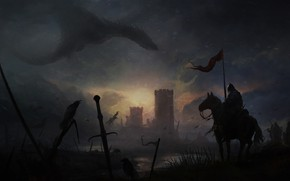 Picture Sunset, The sun, Horse, Dragon, Raven, Monster, Castle, Warrior, Monster, Knights, Fantasy, Warriors, Fortress, Dragon, …