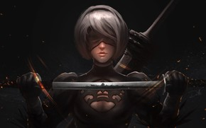 Picture Girl, Figure, Sword, Android, Art, Illustration, Characters, Game Art, NieR, NieR: Automata, YoRHa No.2 Type …
