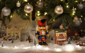Picture winter, balls, branches, holiday, toy, toys, Christmas, gifts, New year, houses, tree, garland, needles, figure, …