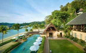 Picture sea, palm trees, pool, the hotel, Borneo, Gaya Island Resort