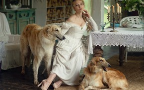 Picture dogs, candles, dress, blonde, braid, Янина Ермакова