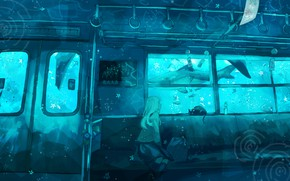 Picture cat, girl, train, fantasy, under water