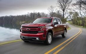 Picture red, Chevrolet, pickup, pond, Silverado, 2019, RST
