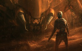 Picture spider, moon, fantasy, robot, sky, desert, science fiction, sand, sci-fi, artist, artwork, concept art, fantasy …