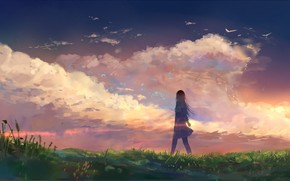 Picture the sky, grass, girl, nature