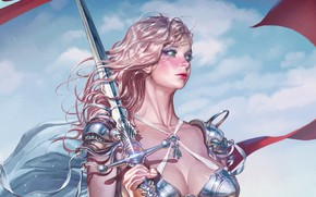 Picture girl, sword, fantasy, cleavage, armor, green eyes, weapon, breast, artist, blonde, digital art, artwork, warrior, …