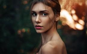 Picture look, model, portrait, makeup, hairstyle, brown hair, Dasha, bokeh, bare shoulders, Maks Kuzin
