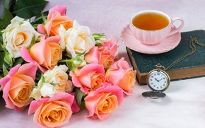 Picture watch, roses, bouquet, Cup, book