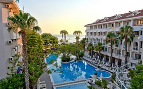 Picture palm trees, pool, the hotel, Turkey, Side, Side Star Beach Hotel