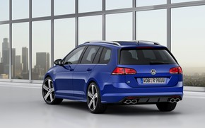 Picture blue, Volkswagen, universal, 2014, pipes, Golf R Estate