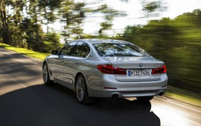 Picture road, grey, movement, BMW, sedan, rear view, hybrid, 5, four-door, 2017, 5-series, G30, 530e iPerformance