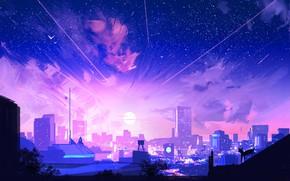 Picture The sun, The sky, Figure, The city, Stars, People, View, City, Landscape, Art, Fiction, Concept …