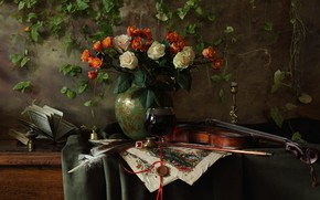 Picture flowers, style, pen, violin, roses, bouquet, book, vase, still life, bow, candle holder
