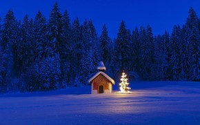 Picture winter, Germany, Bayern, Christmas, chapel