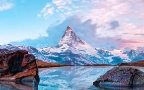 Picture Frozen, Nature, Winter, Mountain, Lake, Reflection, Matterhorn, Switserland