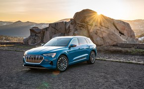 Picture sunset, Audi, the evening, E-Tron, 2019, electrocreaser, 55 Four