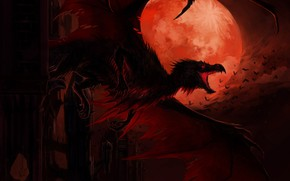 Picture night, the moon, dragon
