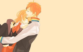 Picture girl, background, hugs, guy, Starry Sky, Starry★Sky, visual novel, anime (2011)