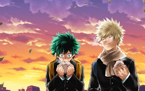Picture Sunset, anime, art, guys, characters, Boku no Hero Academy, My Hero Academia, My Hero Academy, …