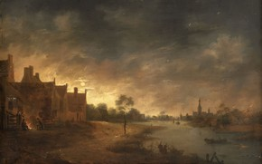 Picture oil, picture, Art van der NEER, A view of the River in the Moonlight, Aert …